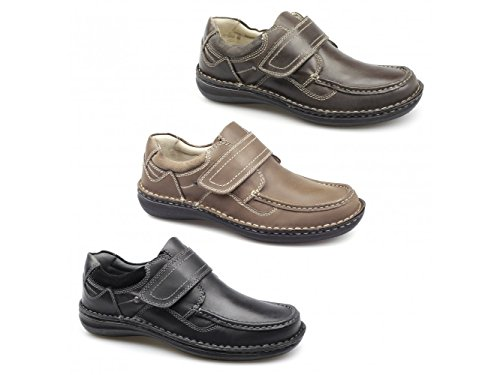 Dr Keller PLUTO Mens Leather Velcro Shoes Brown Brown Mu5aZkEx