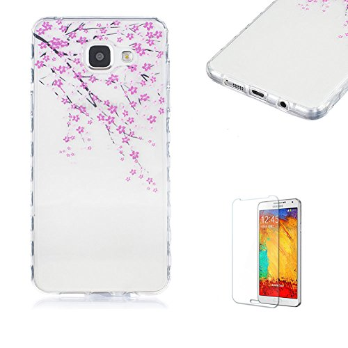 For Samsung Galaxy A5 2016 Case [with Free Screen Protector].Funyye Popular Fashion Transparent Soft TPU Fashion Pattern Design Shock Proof Protective Cover Case forSamsung Galaxy A5 2016-Peach blossom