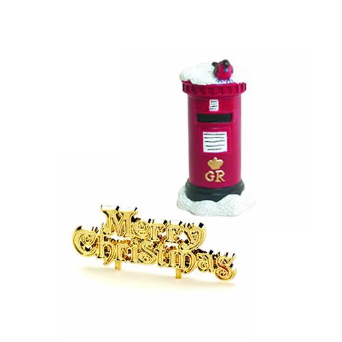 Anniversary House : Robin on a Postbox Cake Decoration & Gold Merry Christmas Cake Pick Creative Party Ltd