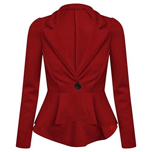 Bureau 8C24 femmes Bordeaux Blazer volants Neuf Taille fin pour Taille Top dcontract plus Veste pplum I5qgO