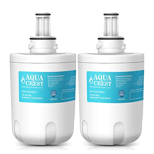 AquaCrest DA29-00003G Refrigerator Water Filter Replacement Samsung DA29-00003G, DA29-00003B, DA29-00003A, Aqua-Unadulterated Plus, HAFCU1 Water Filter (Pack of 2)
