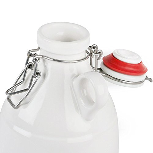 Ceramic Swing Top Growler with Loop Handle - Gloss White - 64 oz
