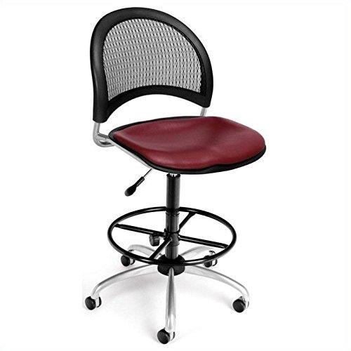 (OFM 336-VAM-DK-603 Moon Swivel Vinyl Chair with Drafting Kit, Wine)