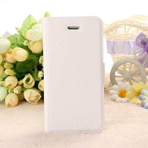 iPhone Case Cover IPhone 4S Fall-Abdeckung, fest Farbe Weiß PU-Leder-Kasten-Abdeckung mit Flip für iPhone 4S