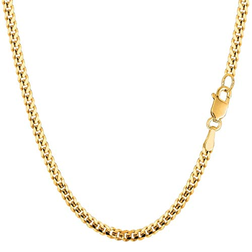 (14K Yellow Gold 3.00mm Shiny Diamond-Cut Gourmette Chain Necklace for Pendants and Charms with Lobster-Claw Clasp (18