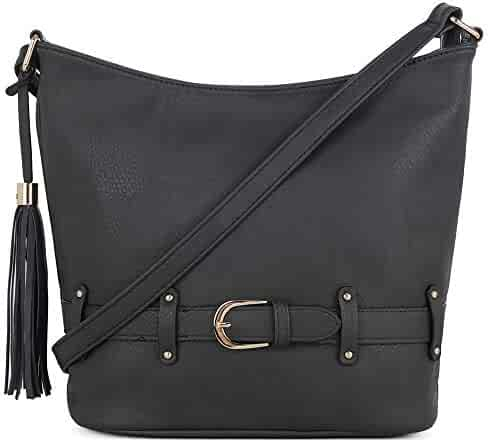 DELUXITY   Crossbody Hobo Slouch Bucket Purse Bag   Functional Multi Pocket  with Tassel and Belt bc40b4dd52