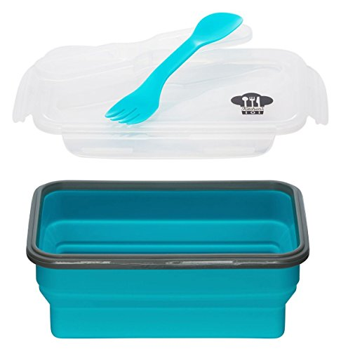 Kitchen Pro 101 Expandable and Collapsible Silicone School Lunch Box for Girls & Boys - 1 Compartment Bento Box Container for Kids/Adults - As Seen On TV (Blue) - Comes with Utensil