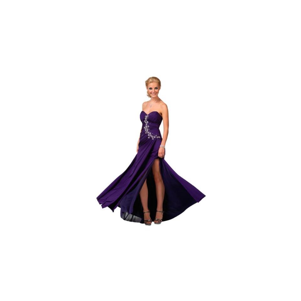 Clarisse Jewel Accented Strapless Stretch Jersey Prom Dress 1556, Purple, 8