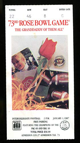 1987 Rose Bowl Ticket Arizona State (22) vs Michigan (15) Harbaugh NMT 22024