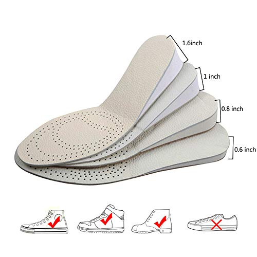 INTLMATE Height Increase Insole, Leather in Two Sides Deodorization Shoes Heel Inserts Lift to 1.6 Inch 4cm up,Comfort Performance Shoes Insoles for Men and Women USA Size 5 to 9