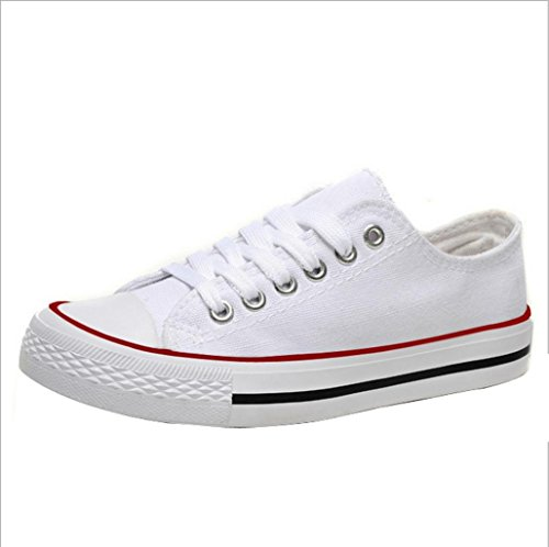 Gaorui Women Canvas Sneaker Atheletic Sports Flats Lace up Shoes Girl Trainer plimsolls White Z7nCn03n