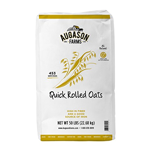 (Augason Farms Quick Rolled Oats, 453 Servings, 12 Month Shelf Life, 50 Pound Bag)