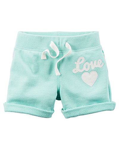 Carter's Little Girls' French Terry ''Happy'' or ''Love'' French Terry Shorts (8, Teal ''Love'') by Carter's (Image #2)'