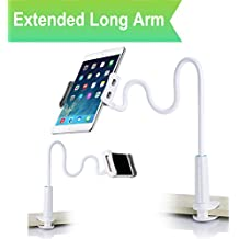 Cellphone & Tablet 2 in 1 Stand Holder Clip with Grip Flexible Long Arm Gooseneck Bracket Mount Clamp for iPad/iPhone X/8/7/6/6s Plus Samsung S8/S7 - White