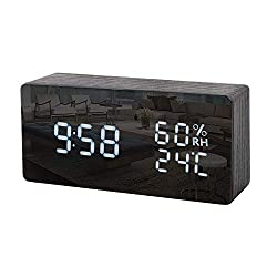 M SANMERSEN Wood Alarm Clock, Digital Alarm Clock Temperature Date LED Display 3 Levels Dimmer Brightness Voice Control Modern Desk Electronic Clock for Bedrooms Office Gifts for Boys Girls