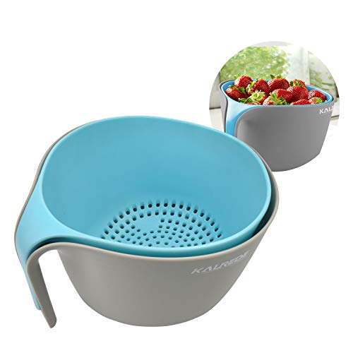 KALREDE Colander Bowl Set –Multipurpose Heavy Duty Plastic Mixing Bowls with Non-Slip Base &Handle–Nesting &Stackable Kitchen Washing Bowls Food Drainer Strainer for Vegetable, Fruit, ()