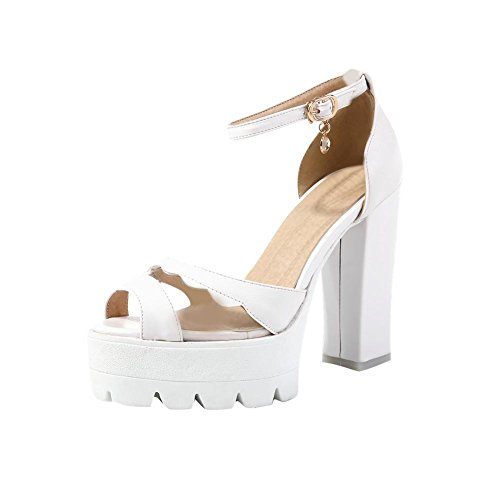 Carolbar Womens Peep Toe Ankle Strap Sexy Fashion Buckle Transparent Platform High Chunky Heel Sandals White 3QB4p