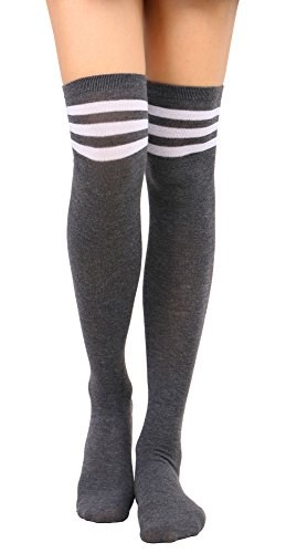 Knee High Socks Women's Casual Striped Thigh High Socks Tube Stocking,Grey WH