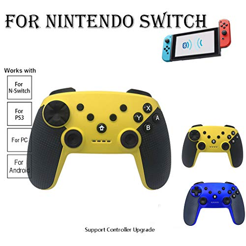 Fullwei Wireless Bluetooth Controller Handle Gaming Pad Joystick with Gyroscope Sensor and Acceleration Sensor for Nintendo Switch (Blue) (Yellow)