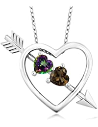 1.04 Ct Green Mystic Topaz Brown Smoky Quartz 925 Sterling Silver Heart and Arrow Pendant