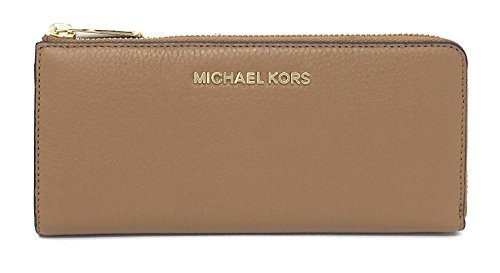 Michael Kors Bedford Large Three Quarter Zip Around Pebbled Leather Wallet (Acorn) by Michael Kors