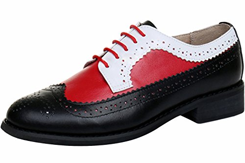 LaRosa Women's Handmade Assorted Colors Carved Wingtip Lace-up Leather Brogues Flat Oxford Shoes,Black red White,9 (Black White Red Shoes)