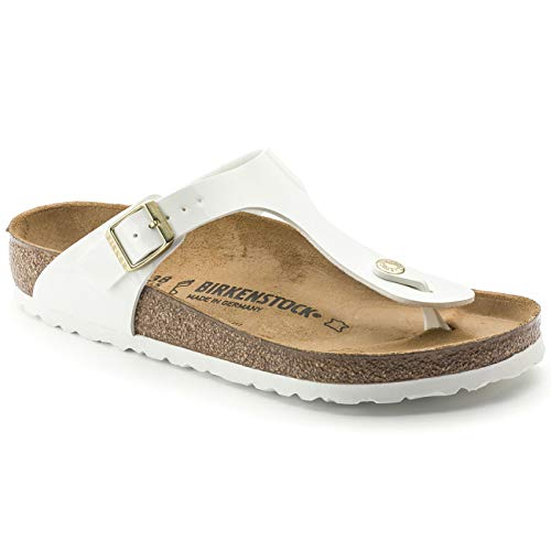 (Birkenstock Gizeh White Womens Patent Leather Sandals Shoes-3)