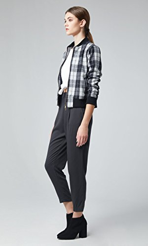 Plaid Cropped Jacket - Berry Modern Women's Tartan Plaid Bomber Jacket Ribbed Trim Cropped Coat