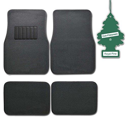 (BDK Charcoal 4 Pc Universal Carpet Car Mats w/ Heel Pad + Little Tree Royal Pine)