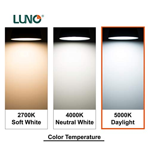LUNO A19 Non-Dimmable LED Bulb, 6.0W (40W Equivalent), 450 Lumens, 5000K (Daylight), Medium Base (E26), UL Certified (4-Pack)