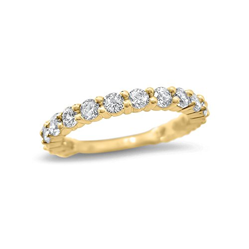 1 Carat Forever ONE Moissanite wedding ring 14k Yellow Gold 17 Stone Forever ONE half eternity wedding band