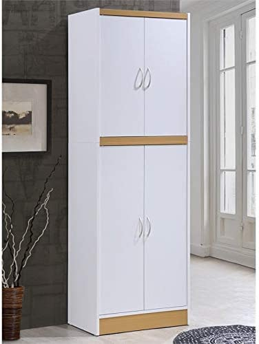 Pemberly Row 4 Door Kitchen Pantry with 4 Shelves in White