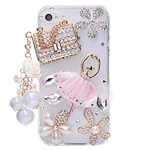 HP DFSachet Ballet Jewelry Covered Back Case for iPhone 4/4S
