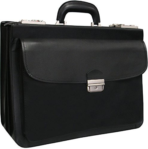 AmeriLeather Modern Attache Leather Executive Brief (Black)
