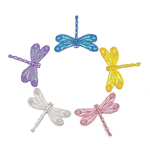 Monrocco 5 Pcs Dragonfly Delicate Embroidered Patches, Iron On Patches, Sew On Applique Patch Embroidery Patches Decoration for Jeans Hats Blouses Sewing sew Shirts Appliques Dragonfly Clothing Embroidered Shirt