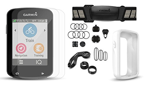 Garmin Edge 820 Cycle Bundle with Chest HRM, Speed/Cadence Sensors, PlayBetter Silicone Case & HD Glass Screen Protectors (2-Pack) | Touchscreen Display, GPS Bike Computer (White Case, +Bundle)