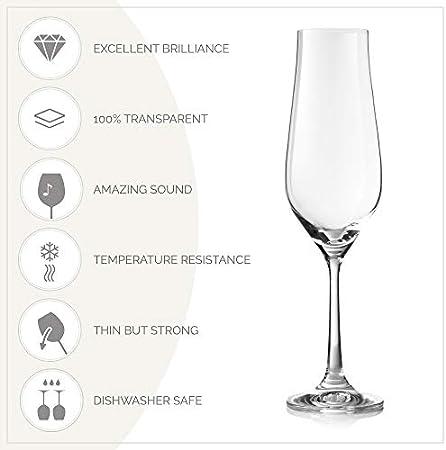 Copas de champán de cristal, 6 unidades, forma de tulipán para boda y tostado, mejor para champán, mimosa, sidra espumosa, vino – Copas sopladas a mano – Fabricado en Europa – 170 ml