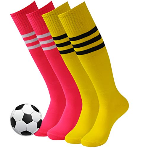 - 3street Long Baseball Socks, Adult Youth Knee High Length Triple Striped Wicking Moisture Athletic Long Football Soccer Socks for School Uniform Yellow Hot Pink 4 Pairs