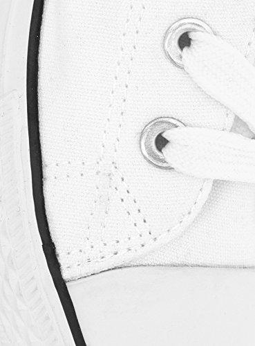 oodji Ultra Mujer Zapatillas de Tela Básicas con Acabado en Contraste Blanco (1000N)