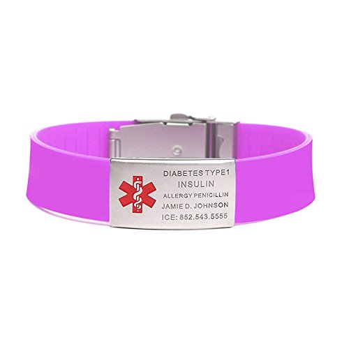 Incl Clasp - BAIYI Purple Silicone Sports Medical Alert ID Bracelet Wristband for Women (Free Engraving)