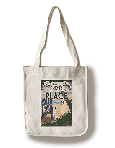 Key West, Florida is My Happy Place - Adirondack Chairs and Sunset - Florida (100% Cotton Tote Bag - Reusable, Gussets, Made in - Key Shopping West