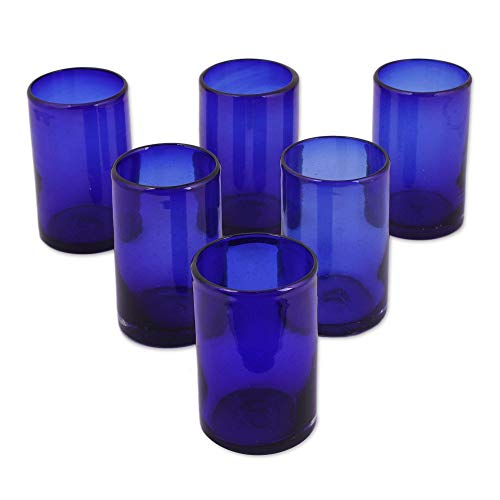 (NOVICA Artisan Crafted Cobalt Blue Hand Blown Recycled Glass Cocktail Glasses, 14 oz, Solid Blue' (set of 6))