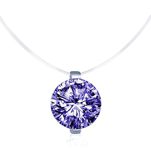 Infinite U Solitaire Pendant 925 Sterling Silver Peurple Cubic Zirconia CZ with Transparent Chain Necklace for Women 16