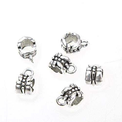 Monrocco 100 Pcs Antique Silver Flower Bail Spacer Beads Hanger Links Bail Slider Beads Charms for Bracelets Jewelry Making