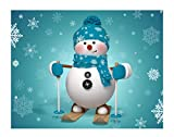 JANNINSE Blue Snowflake Scarf Christmas Snowman Skiing Fun Picture Stripes Large Door Mat, Entrance Carpet Patio Grass Snow Shovel Rubber Back, All Weather Exterior Door, 23.6X15.7