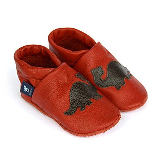 Leder Leder Babyschuhe DUNKELBRAUN ROT Lauflernschuhe Pantau Lederpuschen 100 Dinosaurier Krabbelschuhe mit 8wcqTt