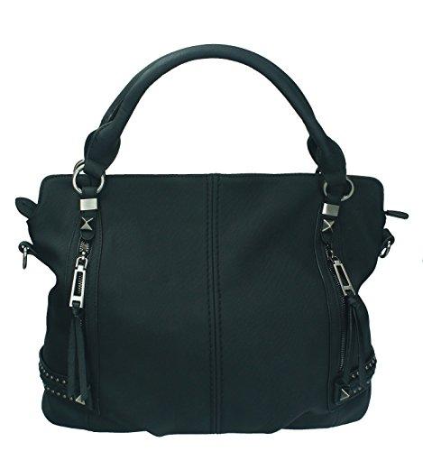 Betz Schultertasche Henkeltasche Umhängetasche Frauen Handtasche Tasche mit Reißverschluss Damen Shopper MILANO 1 Farbe: schwarz