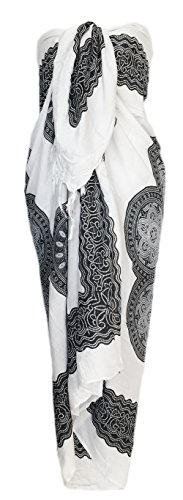 Sarong Wrap From Bali Your Choice of Design Beach Cover Up (Flower Black)