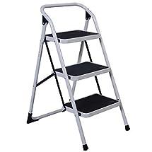 Goplus Hd 3 Step Ladder Platform Lightweight Folding Stool 330lbs Cap. Space Saving