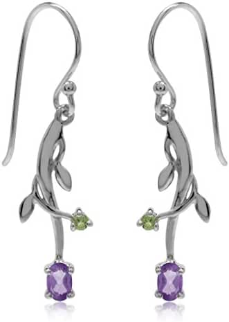 Natural African Amethyst & Peridot 925 Sterling Silver Vine Leaf Dangle Earrings